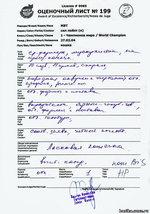 Оценочный лист Басики